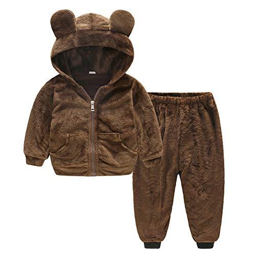 Yazidan Kinder Kleinkind-Baby-Mädchen-Junge Winter warme langärmelige Mantel plüsch einfarbig Cartoon Pullover mit Kapuze reißverschluss top + einfarbig Lange Hosen Outfits Zweiteilige Anzug ()