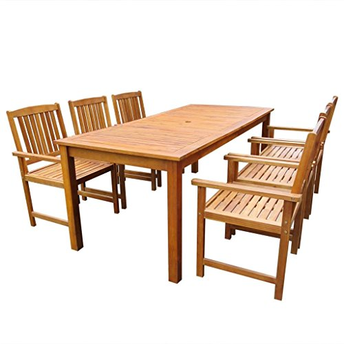 vidaXL Jeu de Table et Chaises d'Extérieur Jardin 7 pcs Marron Acacia Massif