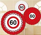 60. Geburtstag Deko Partydekofächer mit Zahl 60 3er Set Hängende Dekoration zum 60er Geburtstag Party oder andere Anlässe