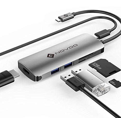 NOVOO USB C Hub 6 Port Aluminium USB-C Adapter mit HDMI 4K, Type C PD 60W (20V,3A), 2 USB 3.0, SD/Micro SD Kartenleser Ports für Laptop MacBook Pro 2016/2017 Samsung Galaxy S8 Huawei Type C Geräte