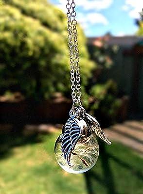 Argent Sterling Chaîne Collier pissenlit ailes d'ange avec BOITE CADEAU Colliers uniques pour femmes bijoux commémoratifs collier de fausse couche cadeau de sympathie
