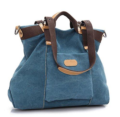 Ecokaki (TM Casual Canvas Damen Tote Bag Große Reisetasche Hobo Handtasche Schultertasche Einkaufstasche, blau