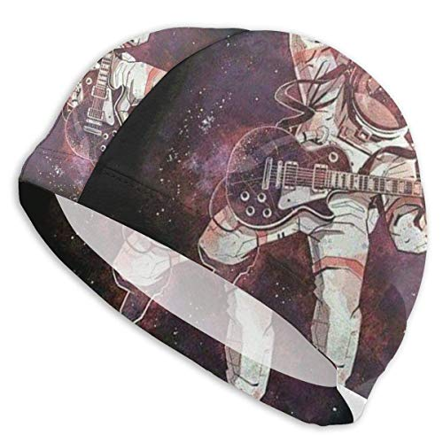 KIMIOE Schwimmhaube Badekappe Astronaut Plays Guitar in Space Unisex Swim Cap Cool Swimming Caps for Short and Long Hair (Ironman Badekappe)