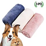 micv Mikrofaser Handtücher für Hunde Hundehandtuch, Großer Weich Hunde Bademantel Handtuch Microfiber Schnelltrocknend Warm Haustierhandtuch für Hunde Katzen 34 * 80 cm 3 Stück