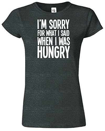 I'M SORRY FOR WHAT I SAID Mesdames T-shirt Tshirt drôle Top Heather Gris foncé / Blanc Design