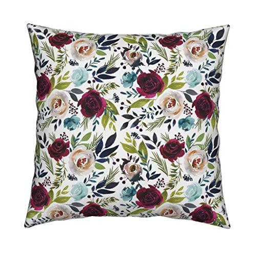 EstherBur87 Cuscino da tiro Floreale Lia Griffith Floral Watercolor Acquerello 18x18 Square Throw Pillow