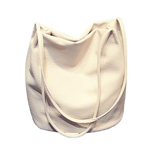 tleder Leder Weiß Damen Eimer Tasche Handtaschen Schultertasche Rucksack (Weißen Eimer)