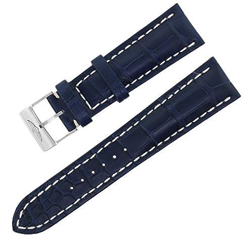 Breitling 746p? A20ba. 124–20mm Bleu Crocodile blanc Coutures pour homme Bracelet de montre