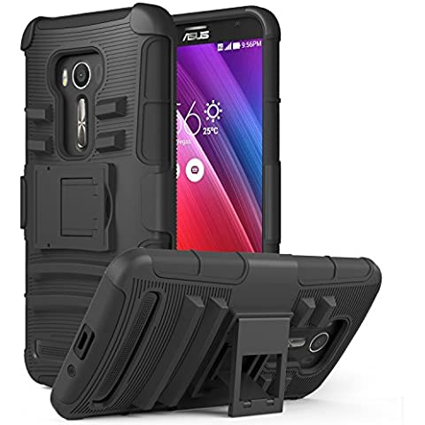 MoKo ASUS Zenfone 2 Laser Case - Holster Cover con supporto integrato con clip e Custodia protettiva rigida per ASUS Zenfone 2 Laser (ZE550KL / ZE551KL) 5.5 Inch Smartphone 2015 Release, NERO