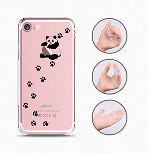 Pacyer® iPhone 7 Custodia Panda Transparente TPU Gel Silicone Protettivo Skin Shell Case Cover Per Apple iPhone 7 (4.7) 10