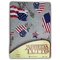 tex family Telo ARREDO COPRITUTTO Gran Foulard COPRILETTO COPRIDIVANO Tessuto Bandiera Americana New York - 1 Piazza