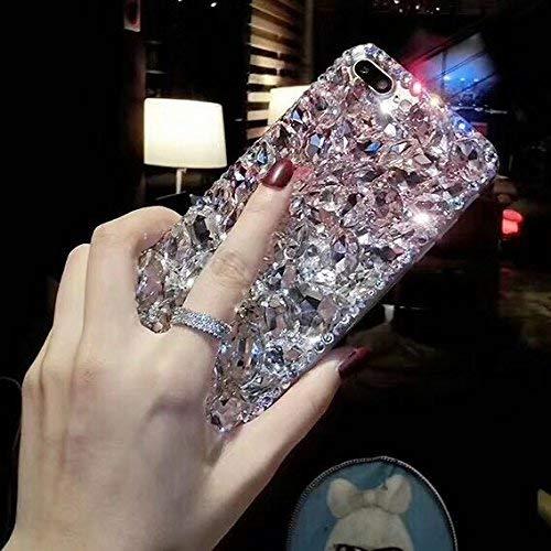 Shinyzone Diamant Glitzer Hülle für Samsung Galaxy S10 Plus Glitzer Handyhülle,Luxus 3D Handgefertigt Kristall Strass Diamant Zurück Hülle Transparent Weich Silikon TPU Bumper Schutzhülle,Rosa & Weiß -