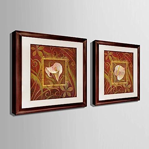 modylee Retro Fiori effetti con telone Video decorativa dipinti soggiorno, camera PC 2tela pittura a olio,