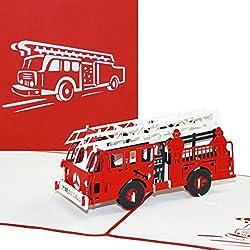 """Pop-Up Karte """"Feuerwehr"""" - Feuerwehrkarte. 3D Karte Feuerwehr, Löschzug - Gutschein, Einladung Geburtstagskarte"""