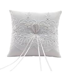 Swirl color crema cuadro decorativo boda un cojín bordado a mano, 7,5-pulgadas-cuadrado