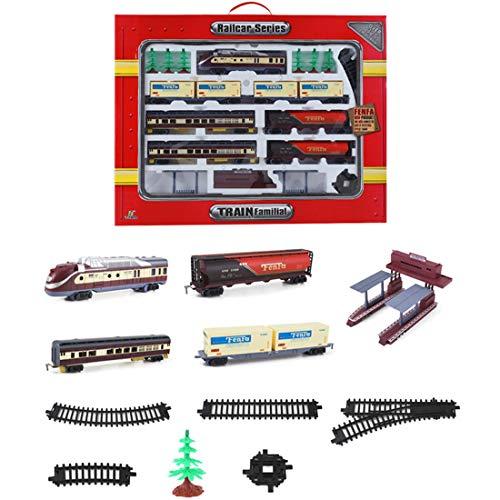 ColiCor Retro Elektrische Eisenbahn Set,Bahnhof Modelleisenbahn H0,Modelleisenbahn Lokomotive,Zugset mit Gleisen Für Kinder