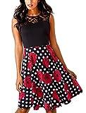 HOMEYEE Damen Elegant Spitze Rundhalsausschnitt Ärmel Mesh-A-Linie Kleid UKA008 (EU 36 (Herstellergroesse: S),Punkt + Blumen)