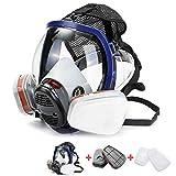 QICLT Máscara Completa Respirador Reutilizable Poliéster PC Cinturón de Nylon elástico Alto para Pintura Aerosol Antipolvo Productos Quimicos Trabajo Gas