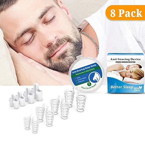 Anti Schnarchen Geräte, YonRui 8 Stop Schnarchen Hilfe Nase Vents Geräte und Schnarchstopper Nasendilatatoren für Anti Schnarchen Unterstützung Schlafapnoe Relief