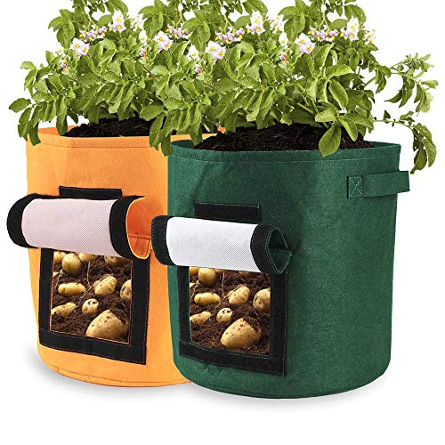 lulalula Lot de 2 Sacs de Culture pour Pommes de Terre, Double Couche Respirant en Tissu Non tissé pour légumes, avec Rabat pour patates de Terre, Carotte, Oignon 13.4 Vert/Jaune