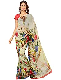 Ligalz Chiffon Saree With Blouse Piece(L0101235_Multicolor Free Size)