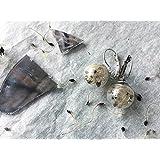 Orecchini pendenti corti con sfera in vetro e semi di Clematide - gioielli naturali - ispirazioni bucoliche - botanici - elfici