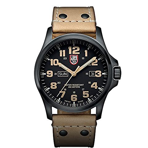Luminox Atacama Field Day Date Men's Quartz watch with Black dial featuring LLT Luminox light Technology 45 millimeters Stainless Steel case and Brown Leather Strap