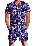 Goodstoworld Jumpsuit Herren Kurz 3D Druck Sommer Zipper Anzug Grandad Shirts Overall Onesie Romper Hawaiian Palme L
