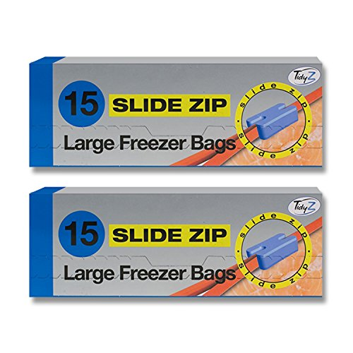 30 Slide Zip Large Freezer Bags/2 Packs of 15