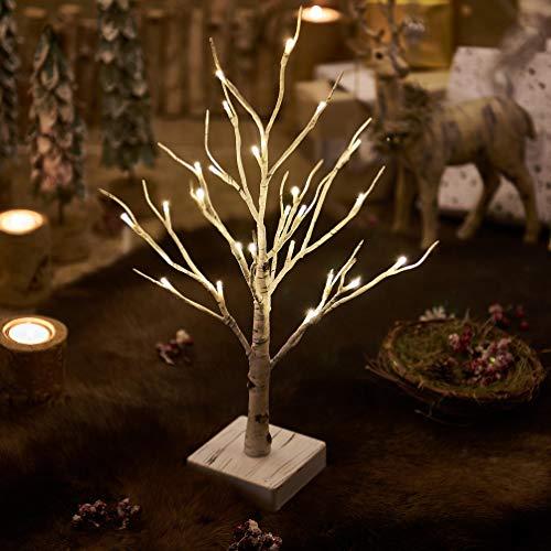 Hairui albero picolo luci bianchi con timer a 24led 18in betulla batteria funzionanti per la decorazione natale pasqua domestica interno