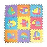 Hutiee Kinder EVA Puzzle Matte 10 Stücke, Tier Muster Umweltschutz Rutschfestem,Kinder-Spielmatte Faszinierende Schaumstoffkriechmatte