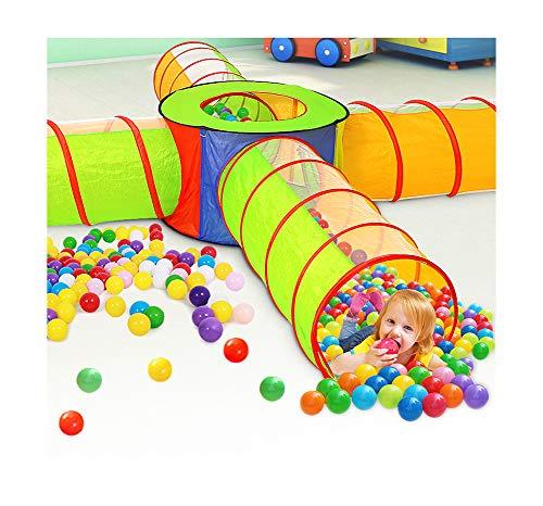 LZNK 4 in 1 Kinder Spielen Zelt Krabbeltunnel Spiel Zelthaus 4 Kanal Babyspielzeug Kleinkinder kriechen Tunnel Spielhaus Bällebad (Outdoor Playhouse Boy)