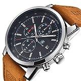 3f399cc338b0 Benyar Cuarzo cronógrafo Impermeable Relojes Business Casual Deporte Banda  Correa de Piel Reloj de Pulsera
