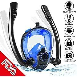 PELLOR Masque de Plongée Snorkeling 2 Tuba Ajustable Vision Panoramique 180° Anti-buée Silicone Anti-Fuite avec Support Caméra (Noir et Bleu)