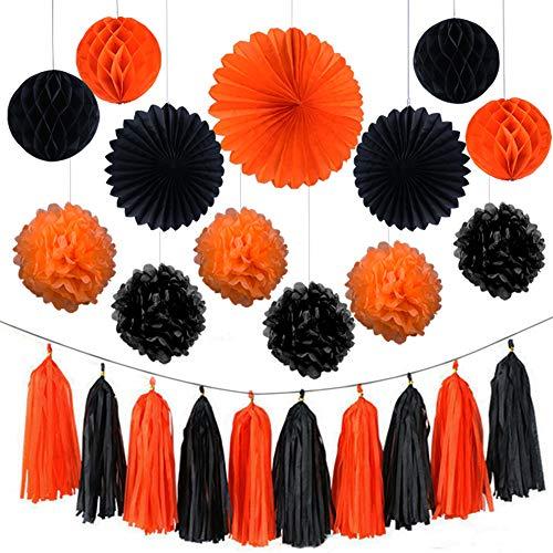AZUNX Geburtstagsdeko, Party Deko Set Geburtstag Party Dekoration Girlande mit Pom Poms Papierblume, Schwarz und Orange gibt eine andere Party für Mädchen Jungen Männer Frauen