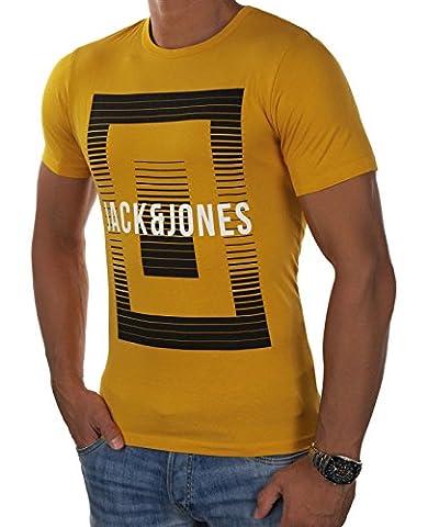 JACK & JONES Herren T-Shirt jcoBOOSTER 7 Tee Mehrfarbig Basic Casual Shirt Rundhals Slim Fit (M, Orange (Golden Orange Fit:SLIM))