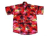 Ontop-Fashion Hawaiihemd Hawai Freizeit Hemd Shirt Viskose rot Palmen schwarz, Größe:L