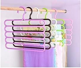 Zollyss Plastic S-Shape 5 Layers Wardrobe Hangers, 33x1x32.5cm (Assorted) - Set of 2