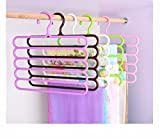 Zollyss Plastic S-Shape 5 Layers Wardrobe Hangers, 33x1x32.5cm (Assorted) - Set of 2