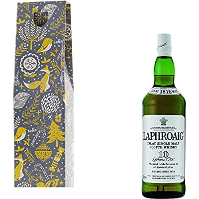 Laphroaig 10 Year Old Single Malt Scotch Whisky 35cl Half Bottle in Xmas Gift Box With Handcrafted Gifts2Drink Tag