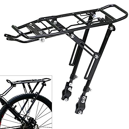 Xpork Alloy Bicycle Carrier Rack Black Rear Cargo Protect Pannier Seat Bag Luggage Package Trunk Cycle Mountain Bike Touring Outdoor 3