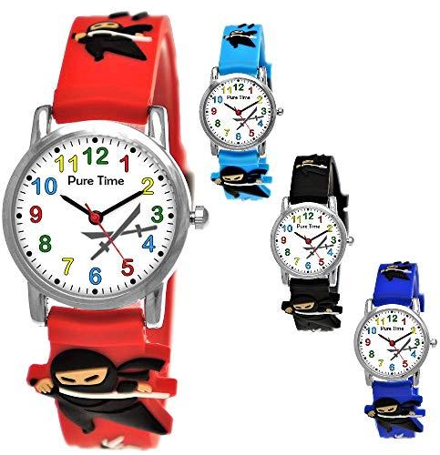 Pure Time® Kinder-Uhr Mädchen-Uhr für Kinder Jungen-Uhr Silikon-Kautschuk Armband-Uhr Uhr mit 3D Ninja Samurai Waffen Motiv Ninjauhr Lern-Uhr Schul-Uhr Sport-Uhr Schwarz Weiß - Ninja Herr Kinder Kostüm