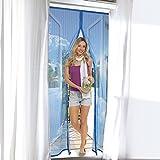 """Moskitonetz für Türen (90 x 210 cm) Fliegengitter für Fenster (150 x 130 cm) """"Magic Click"""" aus der TV Werbung mit automatischem Magnetverschluss (Version 2018) Selbstklebender Türvorhang, Fliegenvorhang, Fliegenschutzgitter, Insektenschutz, Türfliegengitter, Fliegennetzt, Fliegenschutz (90 x 210 für Türen / Blau)"""