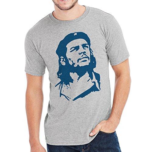 Che Guevara Round Red Circle Team Blu Blue Herren T-Shirt Grau