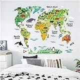 Wemall 3D Tapeten Tierweltkarte Land Verteilung Kinderzimmer Wandaufkleber Badezimmer Schlafzimmer Wohnzimmer dekorative Wandbilder, 300x210 cm (118,1 x 82,7 in)