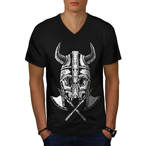 wellcoda Krieger Tot AXT Schädel Männer S V-Ausschnitt T-Shirt