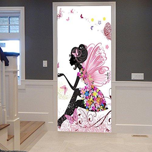 A.Monamour Wandtattoos Wandbilder Aufkleber Rosa Schmetterling Mädchen Mit Floralem Kleid Blume Fee Engelsflügel 3D-Druck Vinyl Zimmer Tür Aufkleber Tapete Wandbilder Aufkleber Poster Für Zu Hause