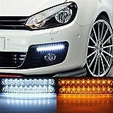 LED Auto Tagfahrlicht DRL TFL Tageslicht Lampe mit Frontblinker LED Licht Leuchtmittel für Auto Nebel (2x 30LED-Licht) 2Pack