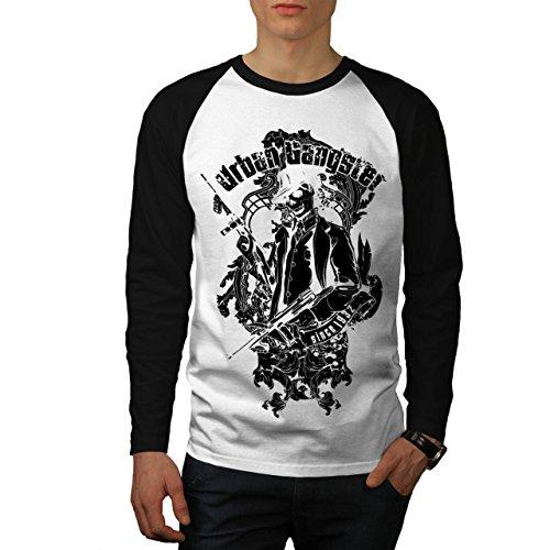 Städtisch Gangster Zombie Mob Herren NEU Weiß (Schwarz Ärmel) XL Baseball lange Ärmel T-Shirt | (Mob Kostüm Italienische)