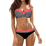 OverDose Damen Padded Push-Up-BH Dreieck Bedruckte Schlinge Bikini Set Badeanzug Badeanzug Bademode Beachwear Badeanzüge(Rot1,S)